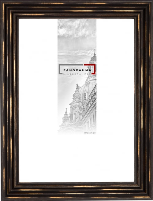 Aktionspreis Kunststoffrahmen / Spiegel L986, schwarzbraun-gold